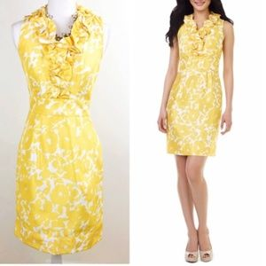 The Limited Yellow & White Floral Dress w/ Ruffle